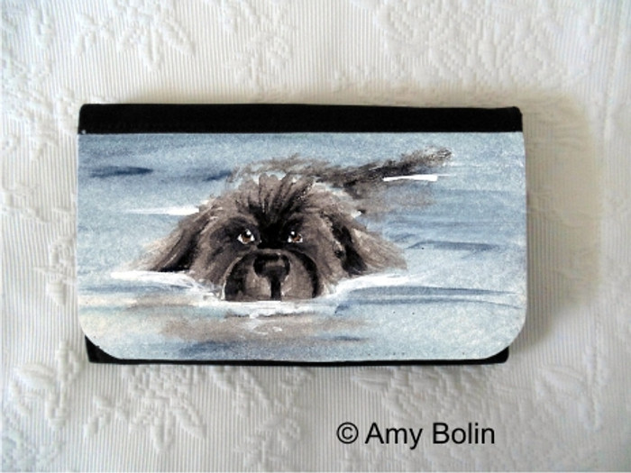 LARGE ORGANIZER WALLET · SWIMMING NEWF ACEO ·  BLACK  NEWFOUNDLAND · AMY BOLIN