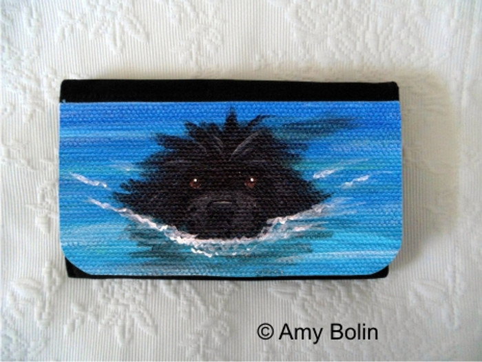 LARGE ORGANIZER WALLET · SWIMMING NEWF  ·  BLACK  NEWFOUNDLAND · AMY BOLIN