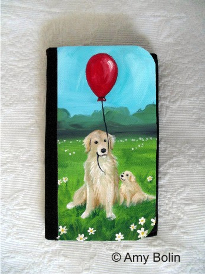 LARGE ORGANIZER WALLET · A GOLDEN AFTERNOON · GOLDEN RETRIEVER · AMY BOLIN