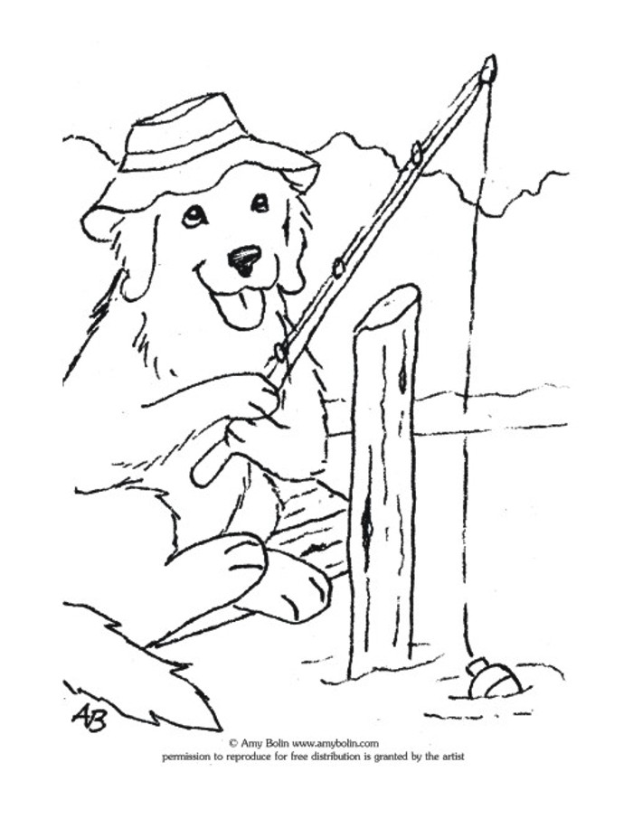 "FREE COLORING SHEET DOWNLOAD · ""Gone Fishing"" · GOLDEN RETRIEVER · AMY BOLIN"