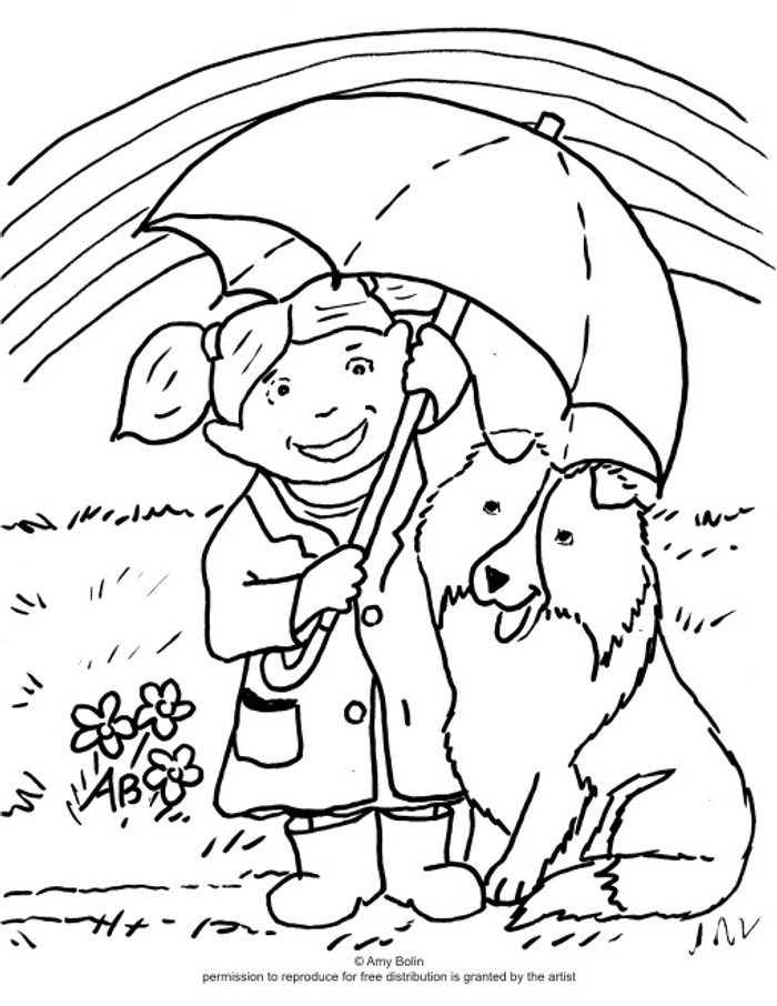 """FREE COLORING SHEET DOWNLOAD · """"April's Showers"""" · SHELTIE · AMY BOLIN"""