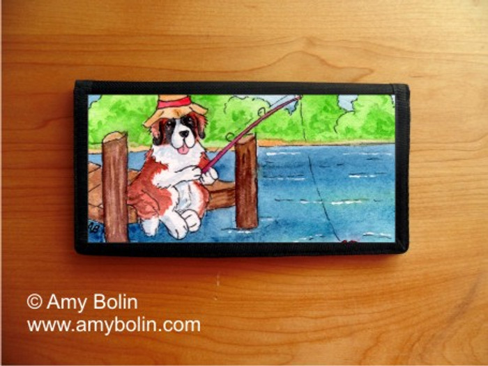 CHECKBOOK COVER · GONE FISHING · SAINT BERNARD · AMY BOLIN