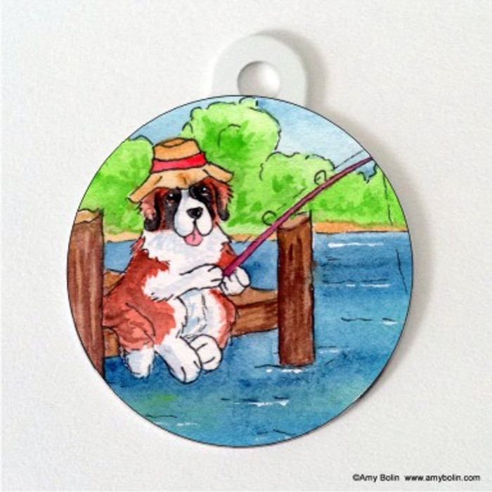 DOUBLE SIDED PET ID TAG · GONE FISHING · SAINT BERNARD · AMY BOLIN