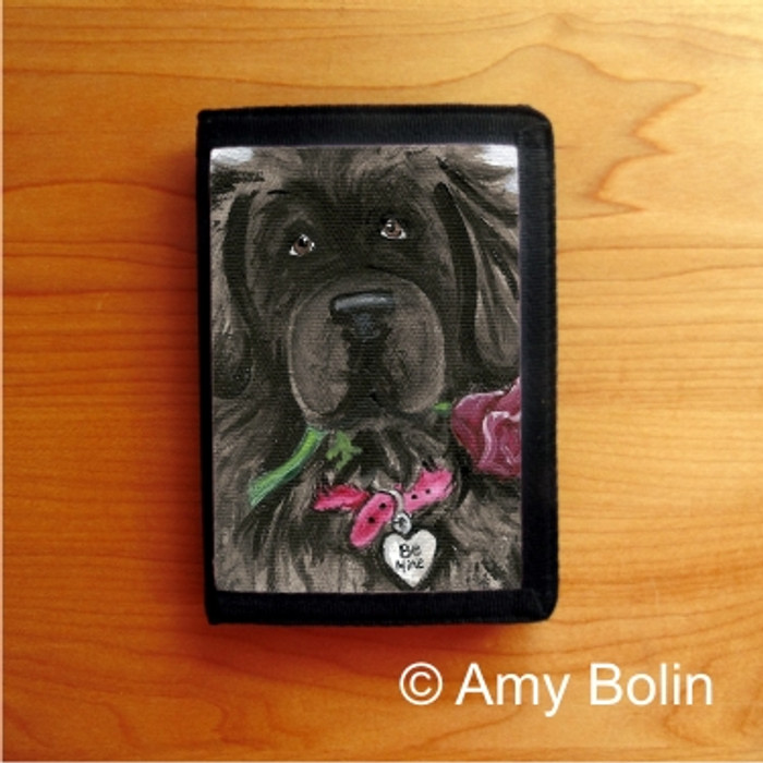 TRIFOLD WALLET · BE MINE · BLACK NEWFOUNDLAND · AMY BOLIN
