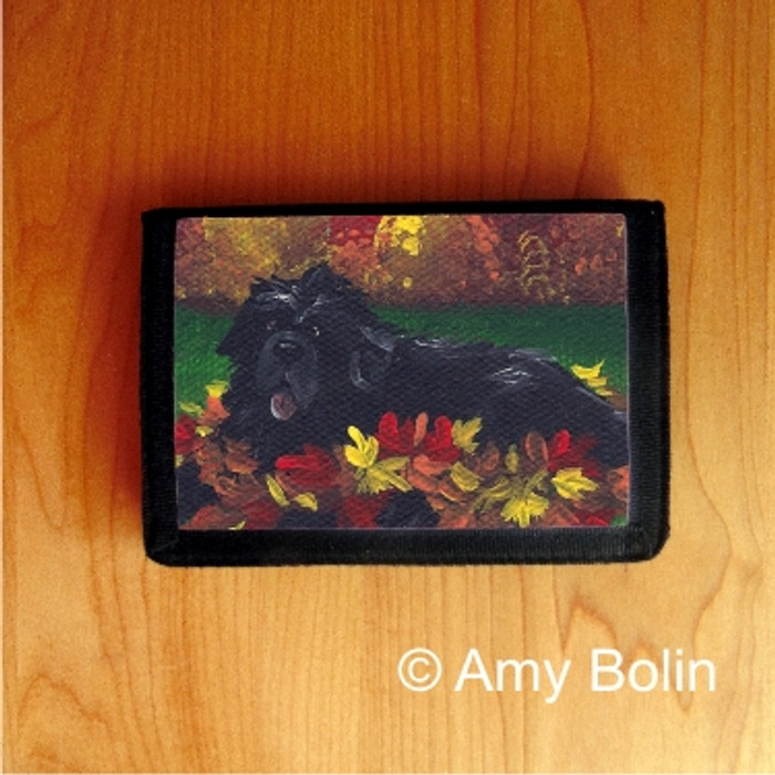 TRIFOLD WALLET · HAPPINESS IS A PILE OF LEAVES · BLACK NEWFOUNDLAND · AMY BOLIN