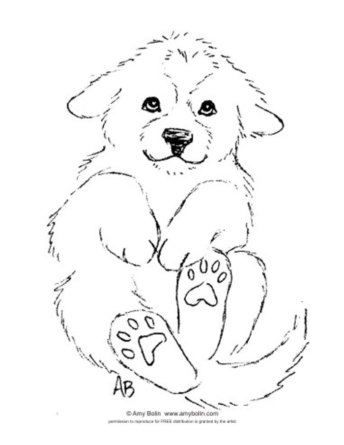 "FREE COLORING SHEET DOWNLOAD · ""Puppy Love"" · GREAT PYRENEES · AMY BOLIN"