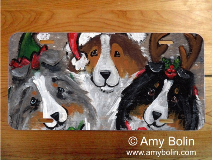 LICENSE PLATE · CHRISTMAS BUDDIES · BLUE MERLE, SABLE, TRI COLOR SHELTIE · AMY BOLIN