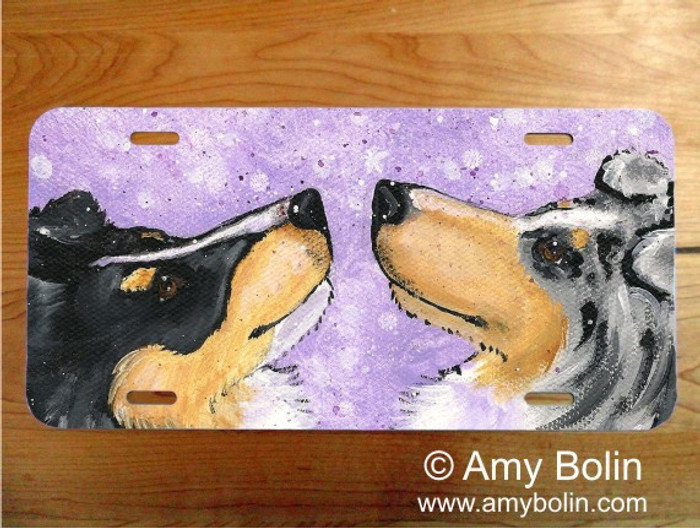 LICENSE PLATE · WISH UPON A SNOWFLAKE · BLUE MERLE, TRI COLOR SHELTIE · AMY BOLIN