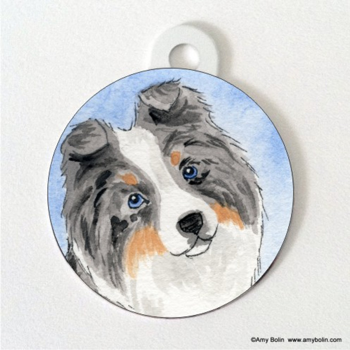 DOUBLE SIDED PET ID TAG · PUPPY LOVE · BLUE MERLE SHELTIE · AMY BOLIN