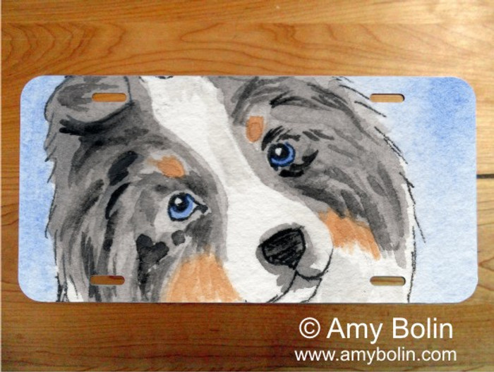 LICENSE PLATE · PUPPY LOVE · BLUE MERLE SHELTIE · AMY BOLIN