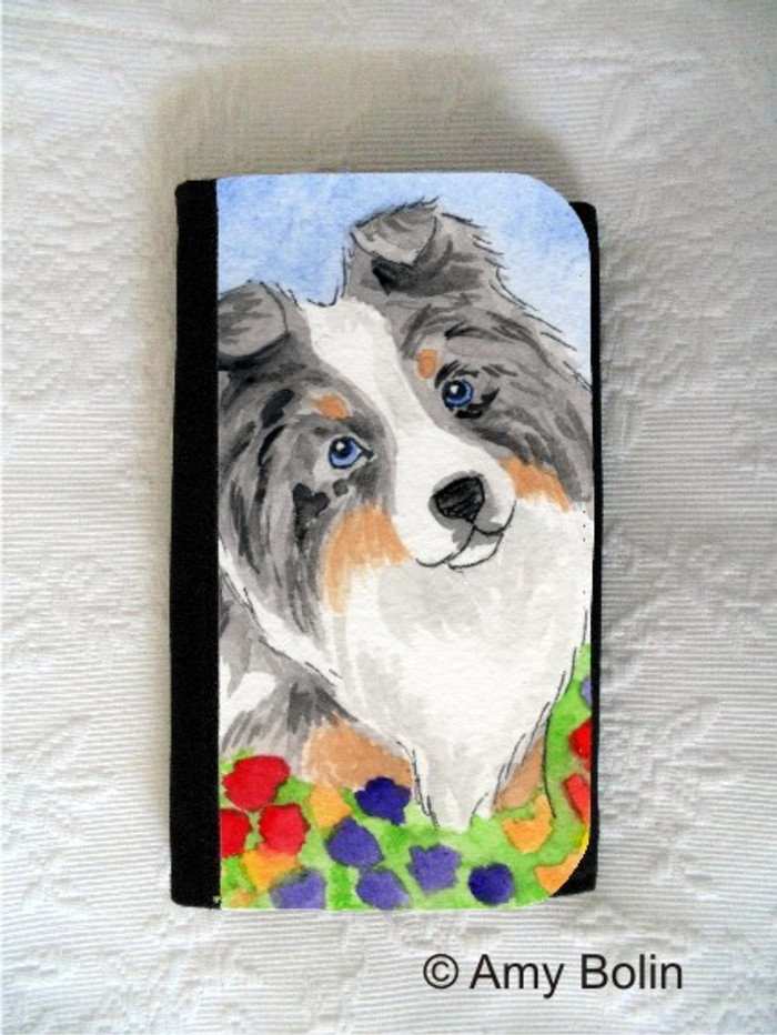 LARGE ORGANIZER WALLET · PUPPY LOVE · BLUE MERLE SHELTIE · AMY BOLIN