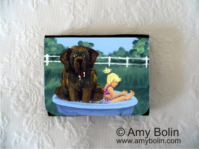 SMALL ORGANIZER WALLET · BATHING BEAUTIES  · BROWN NEWFOUNDLAND · AMY BOLIN