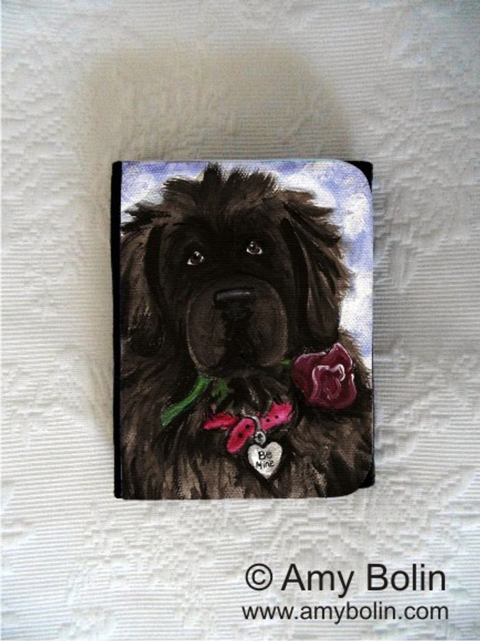 SMALL ORGANIZER WALLET · BE MINE  · BLACK NEWFOUNDLAND · AMY BOLIN