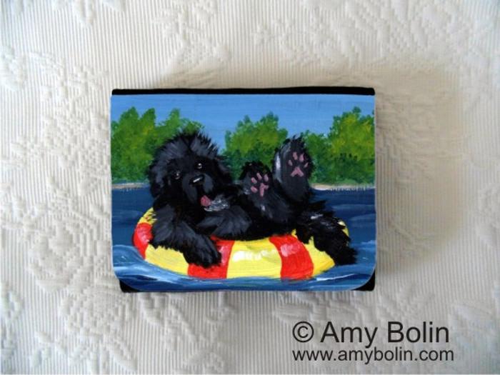 SMALL ORGANIZER WALLET · DOG DAYS  · BLACK  NEWFOUNDLAND · AMY BOLIN