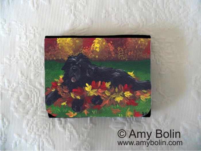 SMALL ORGANIZER WALLET · HAPPINESS IS A PILE OF LEAVES   · BLACK  NEWFOUNDLAND · AMY BOLIN