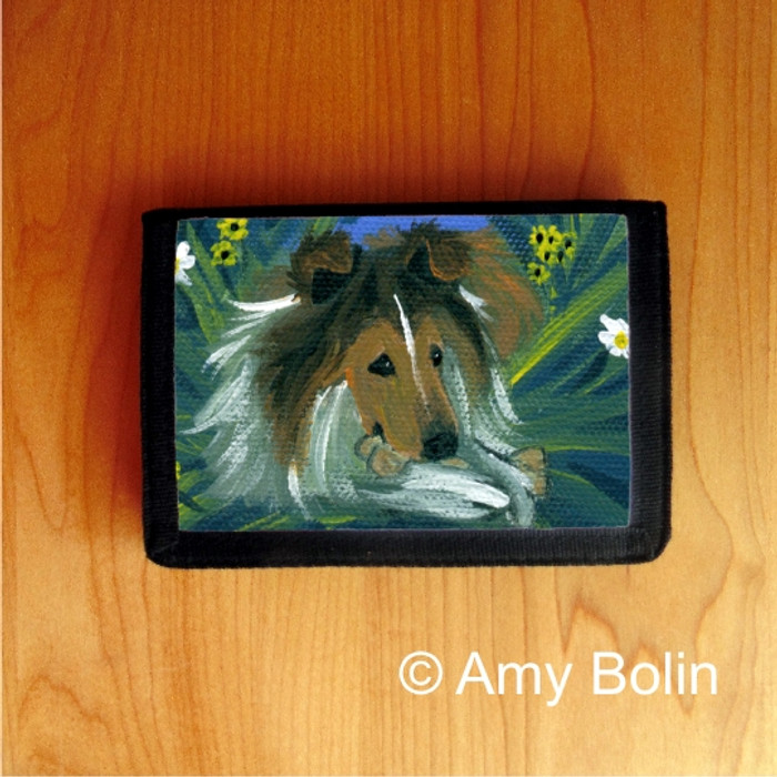 TRIFOLD WALLET · A SECRET TREAT   · SABLE  SHELTIE · AMY BOLIN