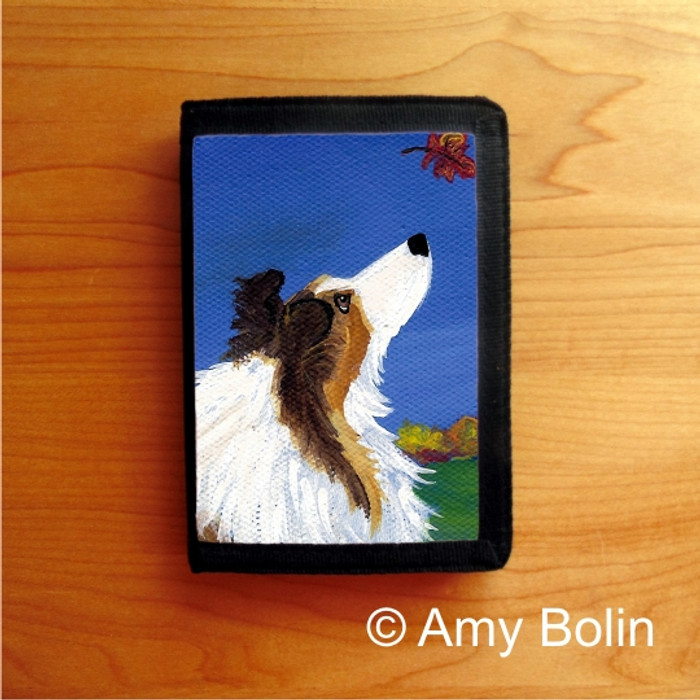 TRIFOLD WALLET · AUTUMN'S SIMPLE PLEASURES 2 · SABLE  SHELTIE · AMY BOLIN