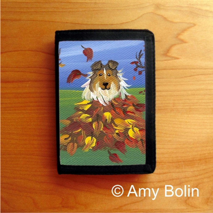 TRIFOLD WALLET · AUTUMN'S SIMPLE PLEASURES · SABLE  SHELTIE · AMY BOLIN