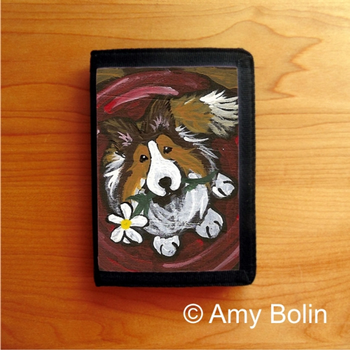 TRIFOLD WALLET · BE MINE  · SABLE  SHELTIE · AMY BOLIN