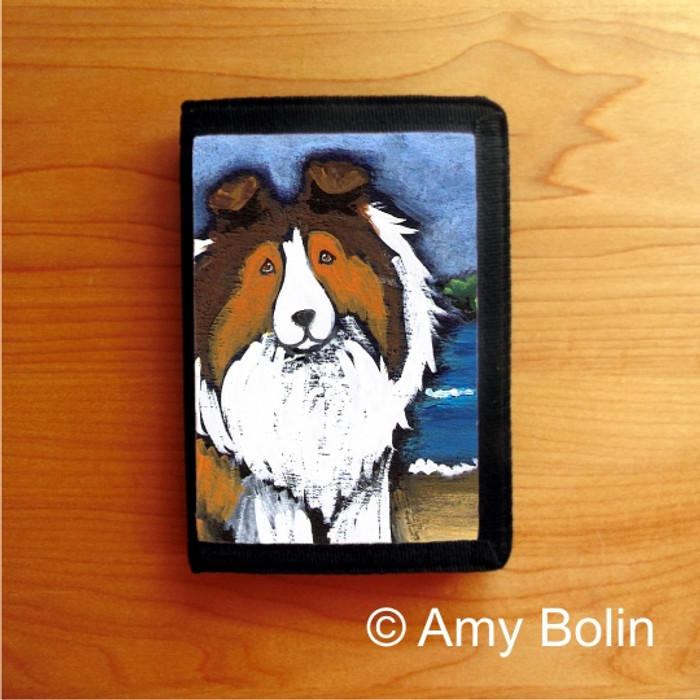 TRIFOLD WALLET · DAY AT THE BEACH   · SABLE  SHELTIE · AMY BOLIN