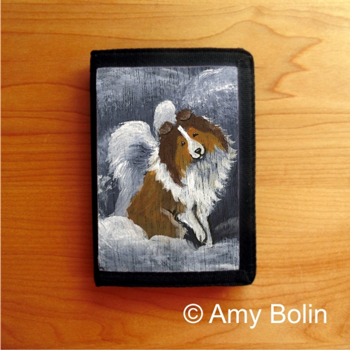 TRIFOLD WALLET · DOG BARKS & ANGEL WINGS   · SABLE  SHELTIE · AMY BOLIN