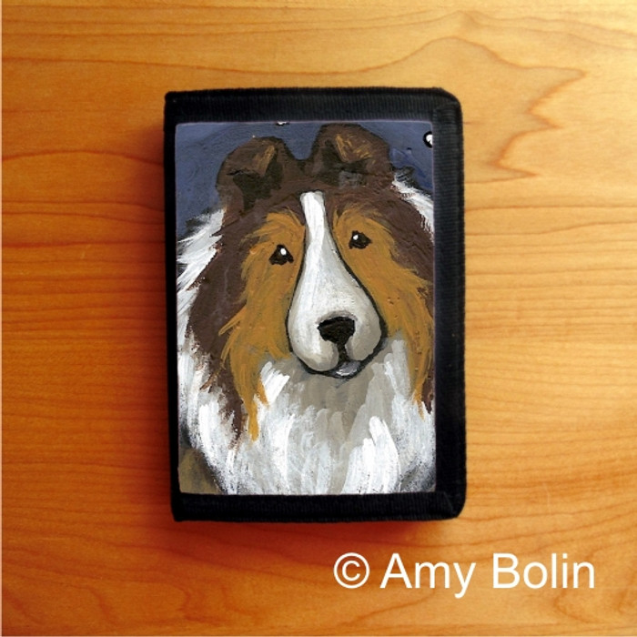 TRIFOLD WALLET · IN THE SNOW AGAIN   · SABLE  SHELTIE · AMY BOLIN