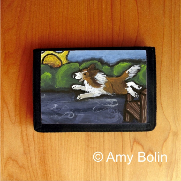 TRIFOLD WALLET · LAST ONE IN    · SABLE  SHELTIE · AMY BOLIN