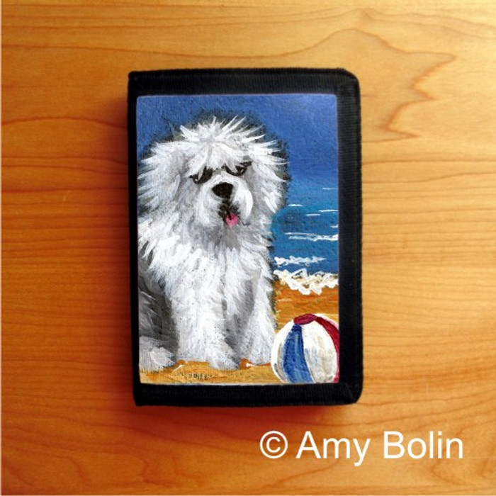 TRIFOLD WALLET · BEACH BUM   · OLD ENGLISH SHEEPDOG · AMY BOLIN