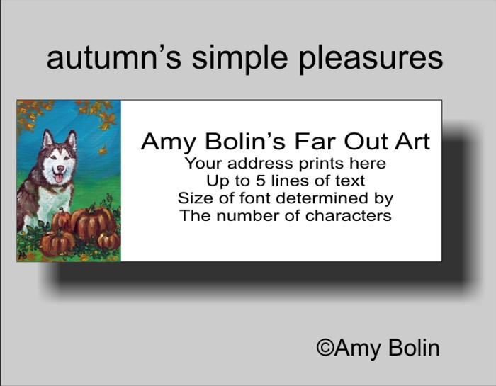 """Autumn's Simple Pleasures (Brown Eyes)"" Siberian Husky Address Labels"