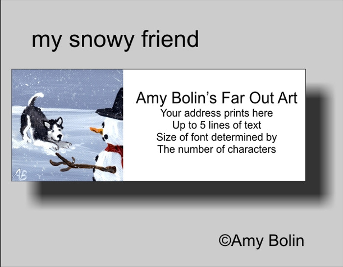 """My Snowy Friend (Blue Eyes)"" Siberian Husky (Black) Address Labels"