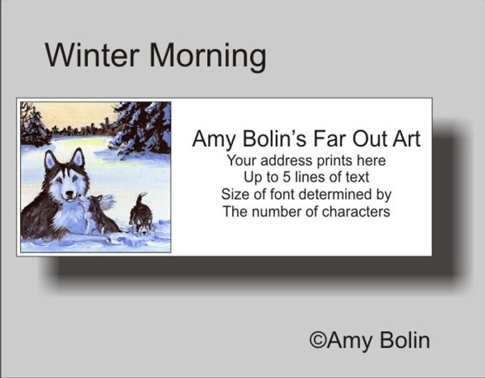 ADDRESS LABELS · WINTER MORNING (BLUE EYES) · HUSKIES & MALAMUTES · AMY BOLIN