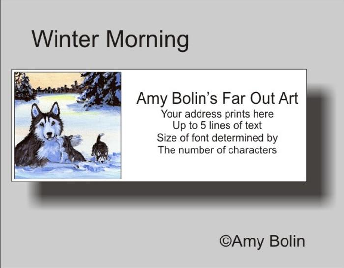 ADDRESS LABELS · WINTER MORNING (BROWN EYES) · HUSKIES & MALAMUTES · AMY BOLIN