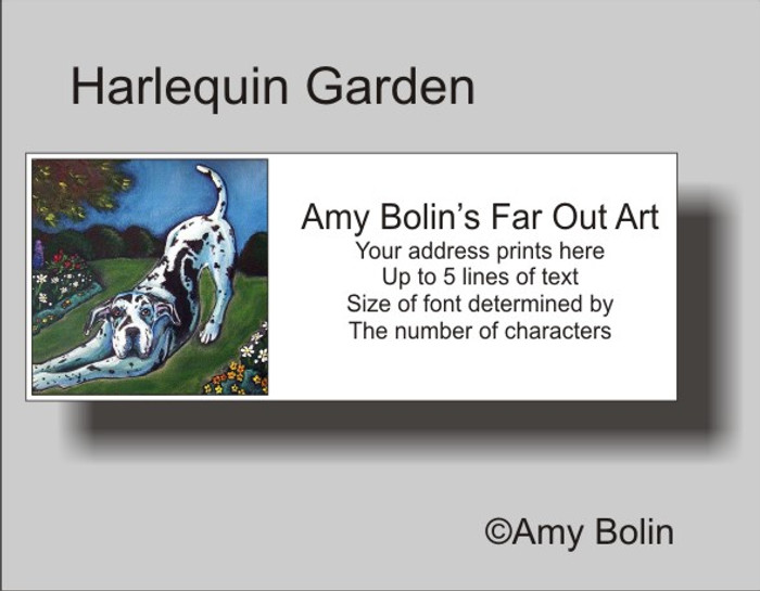 """Harlequin Garden"" Great Dane Address Labels"
