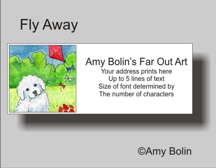 ADDRESS LABELS · FLY AWAY · GREAT PYRENEES · AMY BOLIN