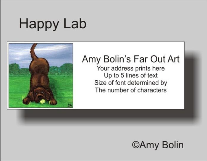 ADDRESS LABELS · HAPPY LAB · CHOCOLATE LAB · AMY BOLIN