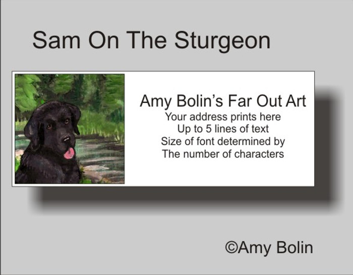 ADDRESS LABELS · SAM ON THE STURGEON · BLACK LAB · AMY BOLIN