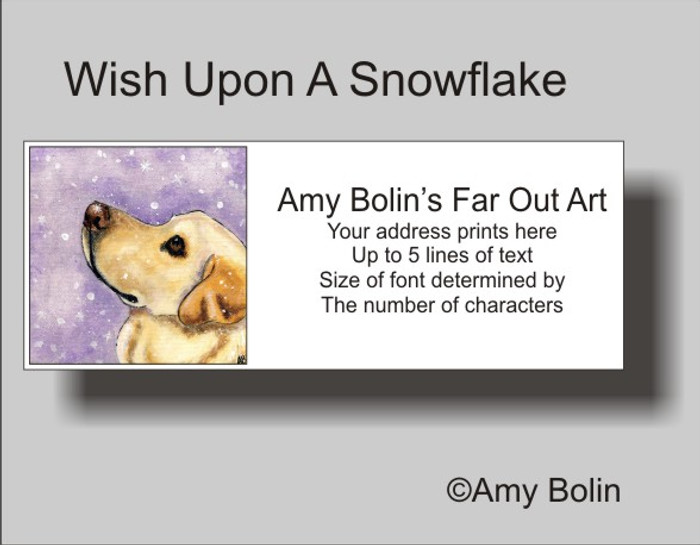 """Wish Upon A Snowflake"" Yellow Labrador Retriever Address Labels"
