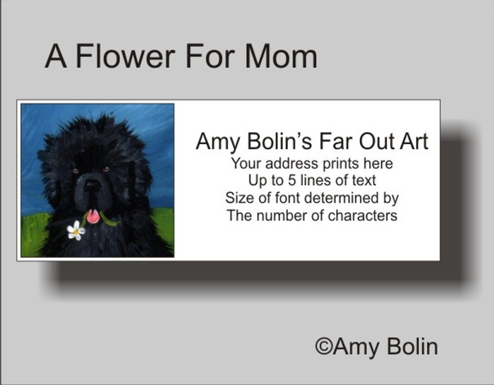 """""""A Flower For Mom"""" Black Newfoundland Address Labels"""