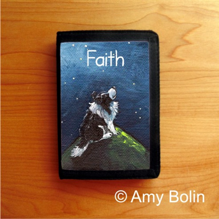 TRIFOLD WALLET · FAITH  · BI BLACK  SHELTIE · AMY BOLIN