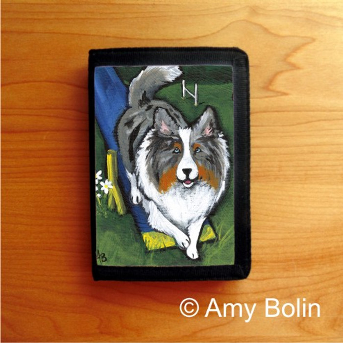 TRIFOLD WALLET · AGILITY KING · BLUE MERLE  SHELTIE · AMY BOLIN