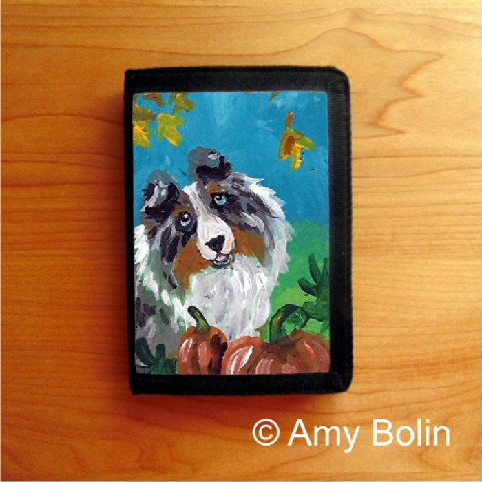 TRIFOLD WALLET · AUTUMN · BLUE MERLE  SHELTIE · AMY BOLIN
