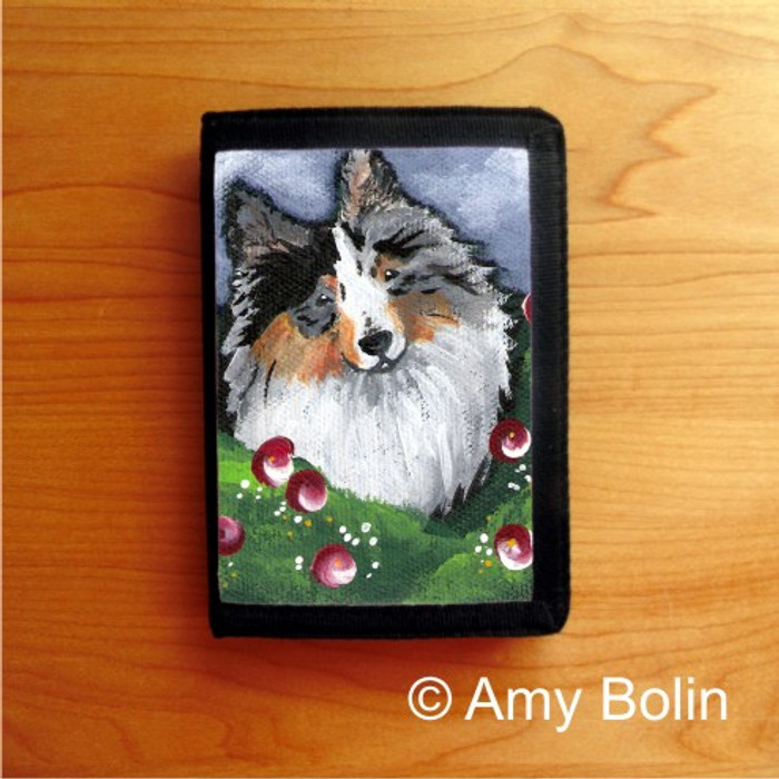 TRIFOLD WALLET · ELLA  · BLUE MERLE  SHELTIE · AMY BOLIN