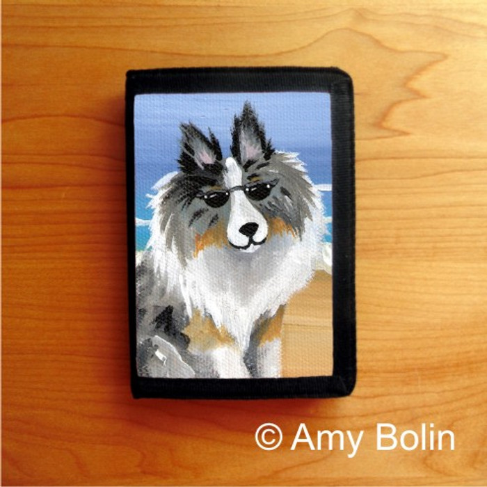 TRIFOLD WALLET · HELLO HOLLYWOOD · BLUE MERLE  SHELTIE · AMY BOLIN