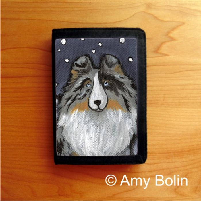 TRIFOLD WALLET · IN THE SNOW AGAIN · BLUE MERLE  SHELTIE · AMY BOLIN