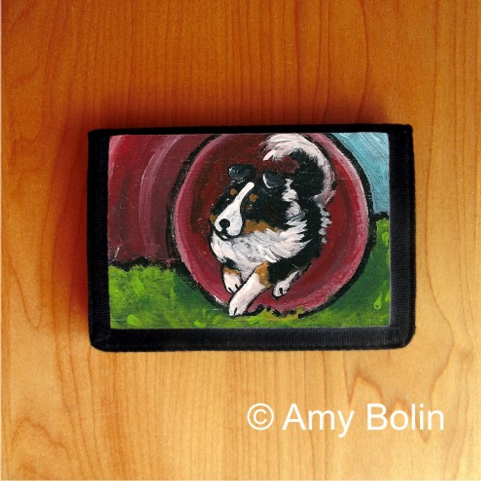 TRIFOLD WALLET · AGILITY STAR  · TRI COLOR   SHELTIE  · AMY BOLIN