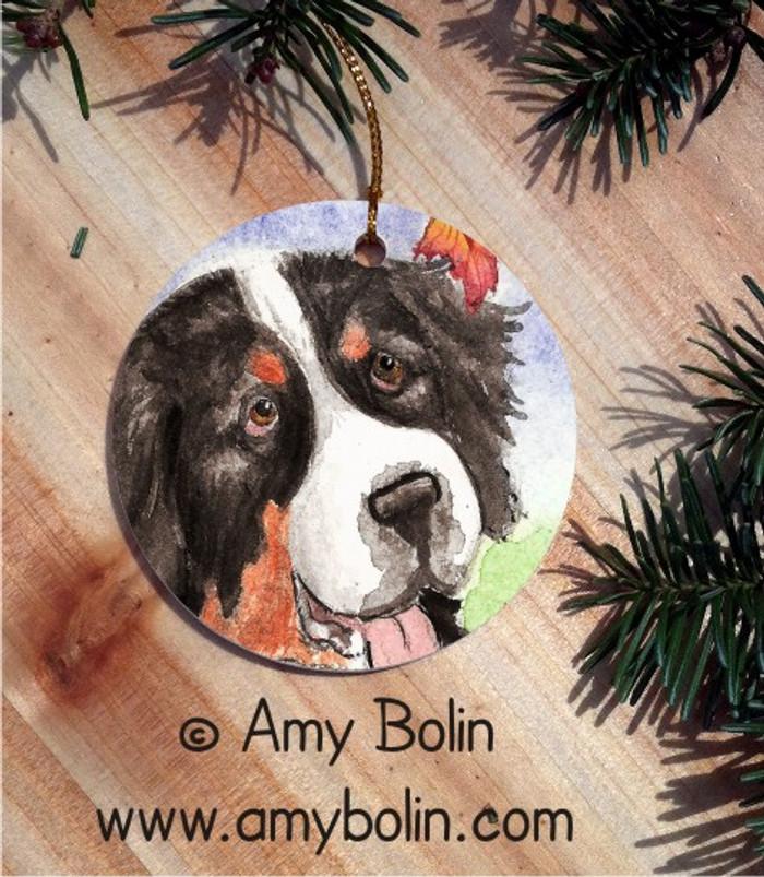 CERAMIC ORNAMENT · AUTUMN BERNER · BERNESE MOUNTAIN DOG · AMY BOLIN