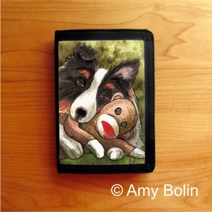 TRIFOLD WALLET · CUDDLE MONKEY  · TRI COLOR   SHELTIE  · AMY BOLIN