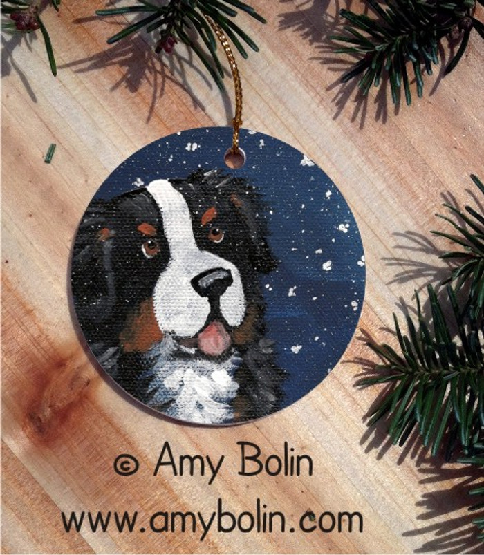 CERAMIC ORNAMENT · COUNTING SNOWFLAKES · BERNESE MOUNTAIN DOG · AMY BOLIN