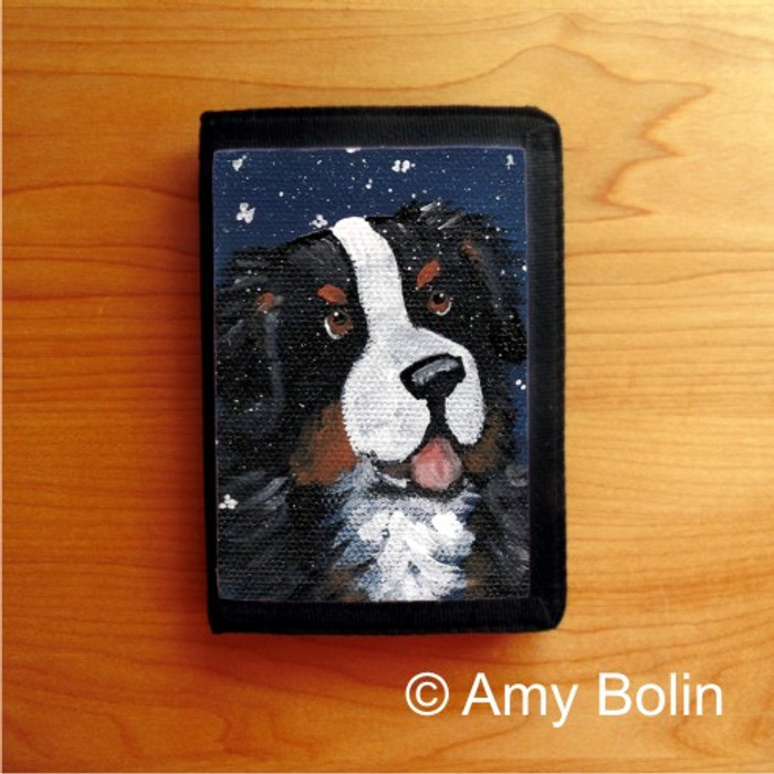 TRIFOLD WALLET · COUNTING SNOWFLAKES   · BERNESE MOUNTAIN DOG    · AMY BOLIN