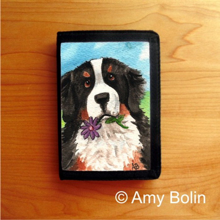 TRIFOLD WALLET · I SAW THIS FLOWER · BERNESE MOUNTAIN DOG    · AMY BOLIN